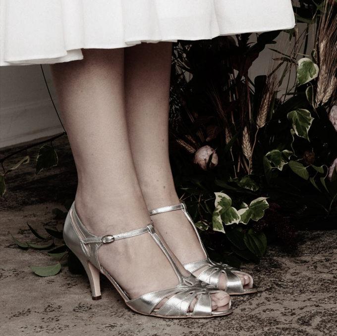 Vintage Brautschuh - Sandale - Silber - Peeptoe -Ledersandale