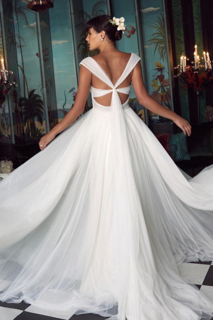 Rückenauscchnitt eines Brautkleides