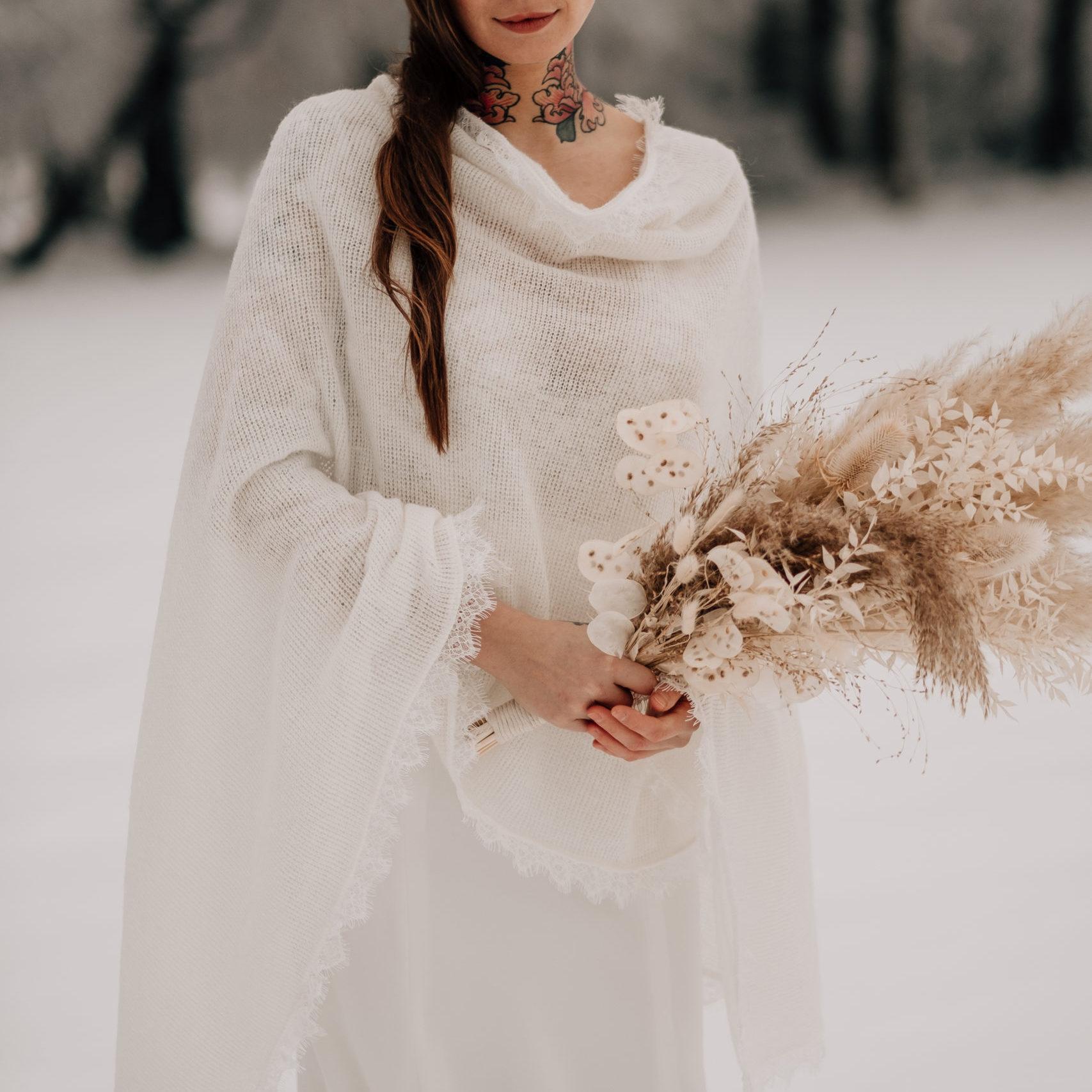 Braut - Poncho - Brautstrick -Brautpullover - Winterhochzeit